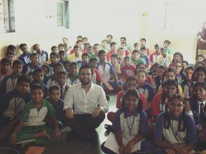 Karan Gupta addressing school children of U M Thevar High School, Dharavi during a career guidance session