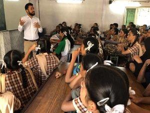 Karan Gupta addressing school children of Gandhi Memorial High School, Dharavi during a career guidance session