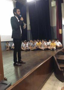 Karan Gupta addressing the Cathedral & John Connon School - Career Guidance workshop