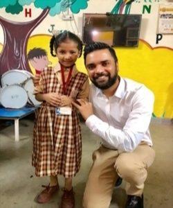 Karan Gupta with school children of Gandhi Memorial High School, Dharavi